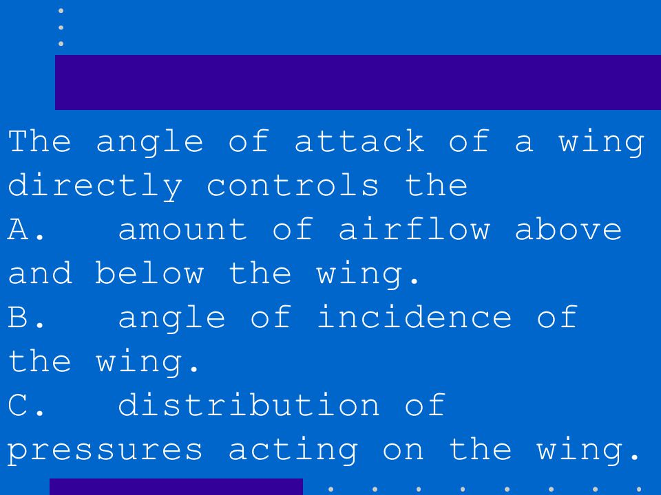 The angle of attack of a wing directly controls the