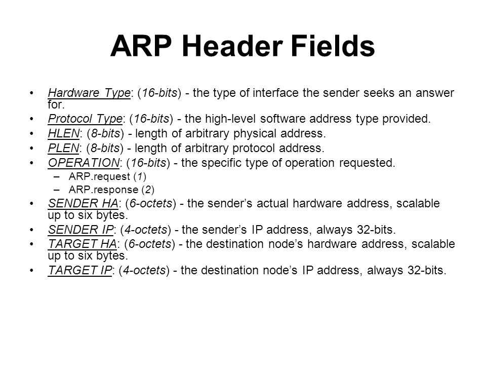 ARP Header Fields Hardware Type: (16-bits) - the type of interface the sender seeks an answer for.