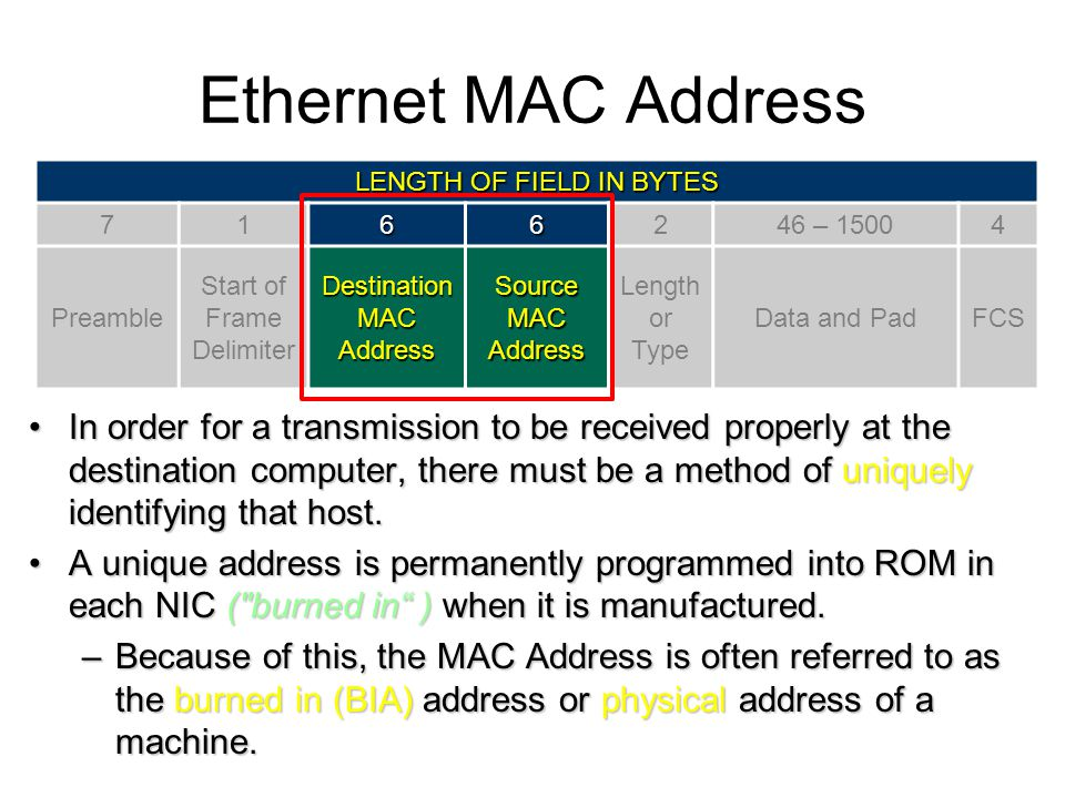 Ethernet MAC Address LENGTH OF FIELD IN BYTES – Preamble. Start of Frame Delimiter.