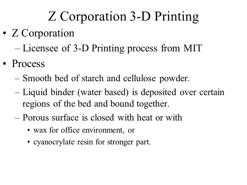 Z Corporation 3-D Printing