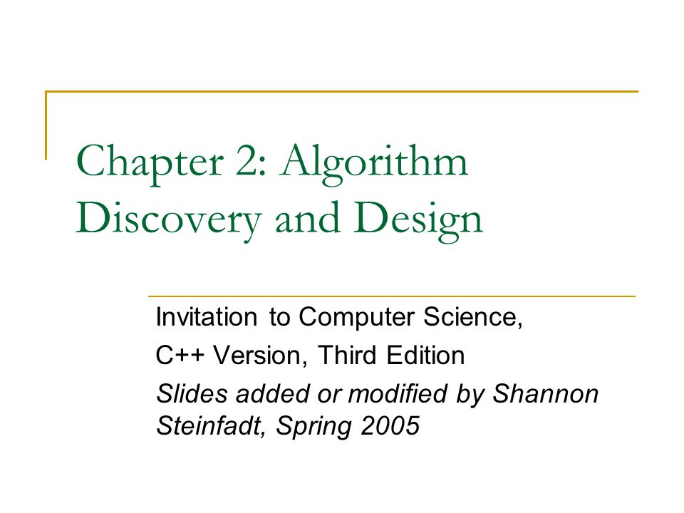 Chapter 2: Algorithm Discovery and Design