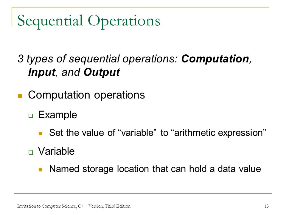 Sequential Operations