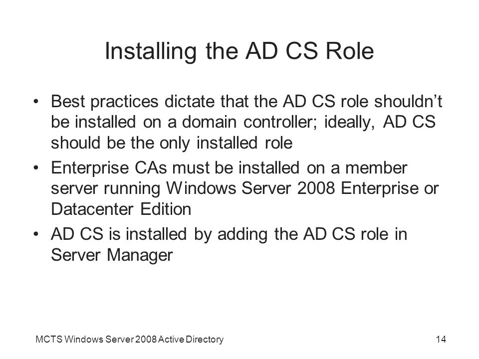 Installing the AD CS Role