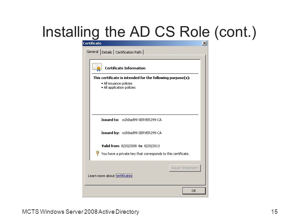 Installing the AD CS Role (cont.)