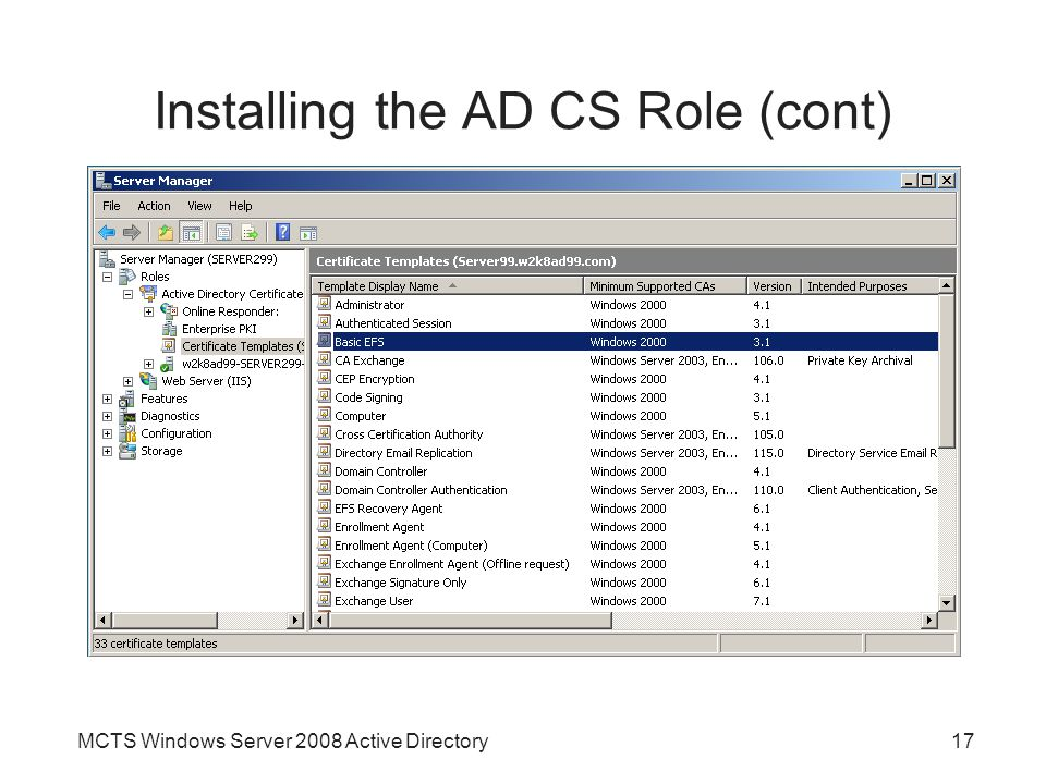 Installing the AD CS Role (cont)