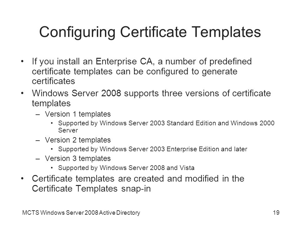 Configuring Certificate Templates