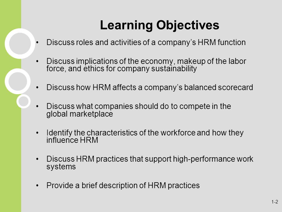 Learning Objectives Discuss roles and activities of a company's HRM function.