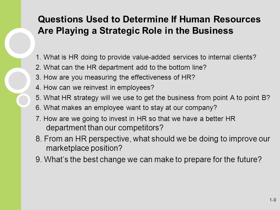 Questions Used to Determine If Human Resources Are Playing a Strategic Role in the Business