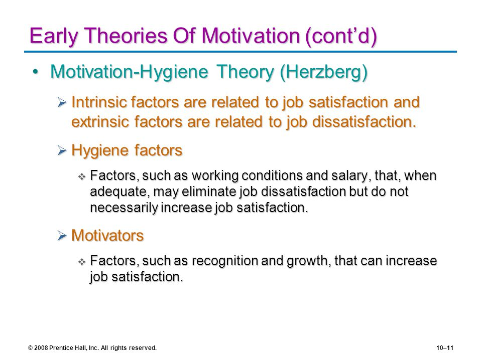 Early Theories Of Motivation (cont'd)