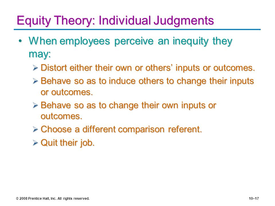 Equity Theory: Individual Judgments