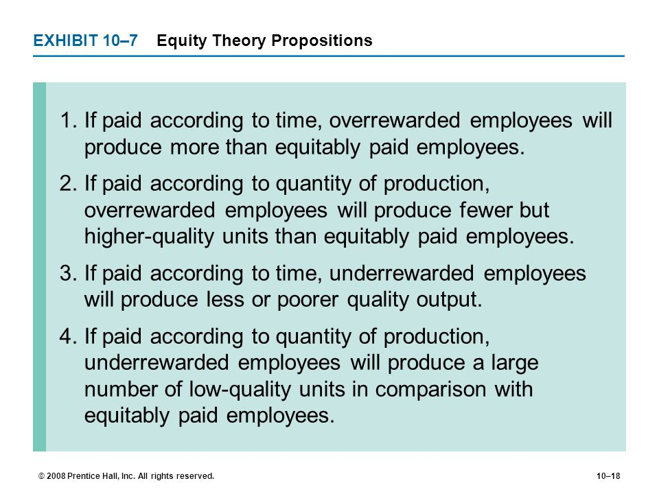 EXHIBIT 10–7 Equity Theory Propositions