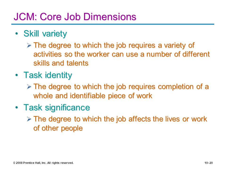 JCM: Core Job Dimensions