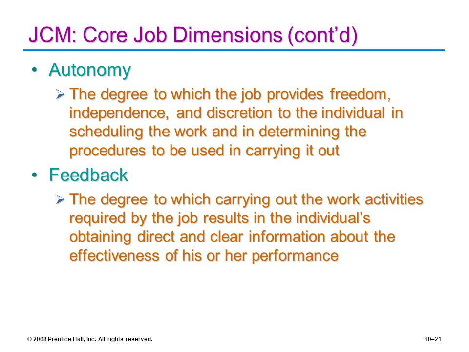 JCM: Core Job Dimensions (cont'd)