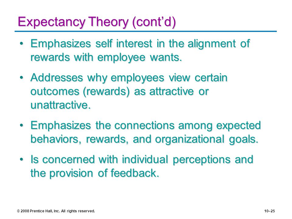 Expectancy Theory (cont'd)