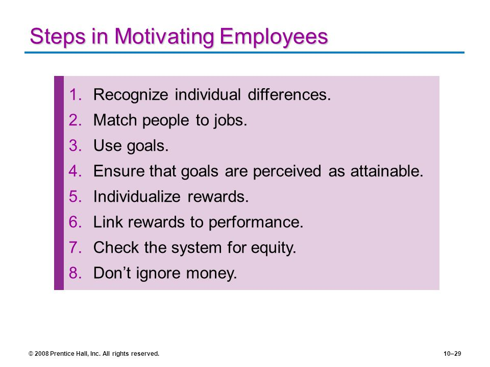 Steps in Motivating Employees