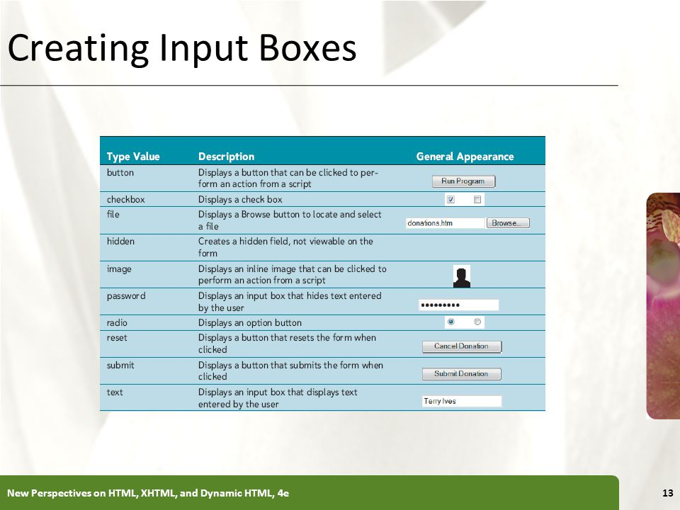 Creating Input Boxes New Perspectives on HTML, XHTML, and Dynamic HTML, 4e
