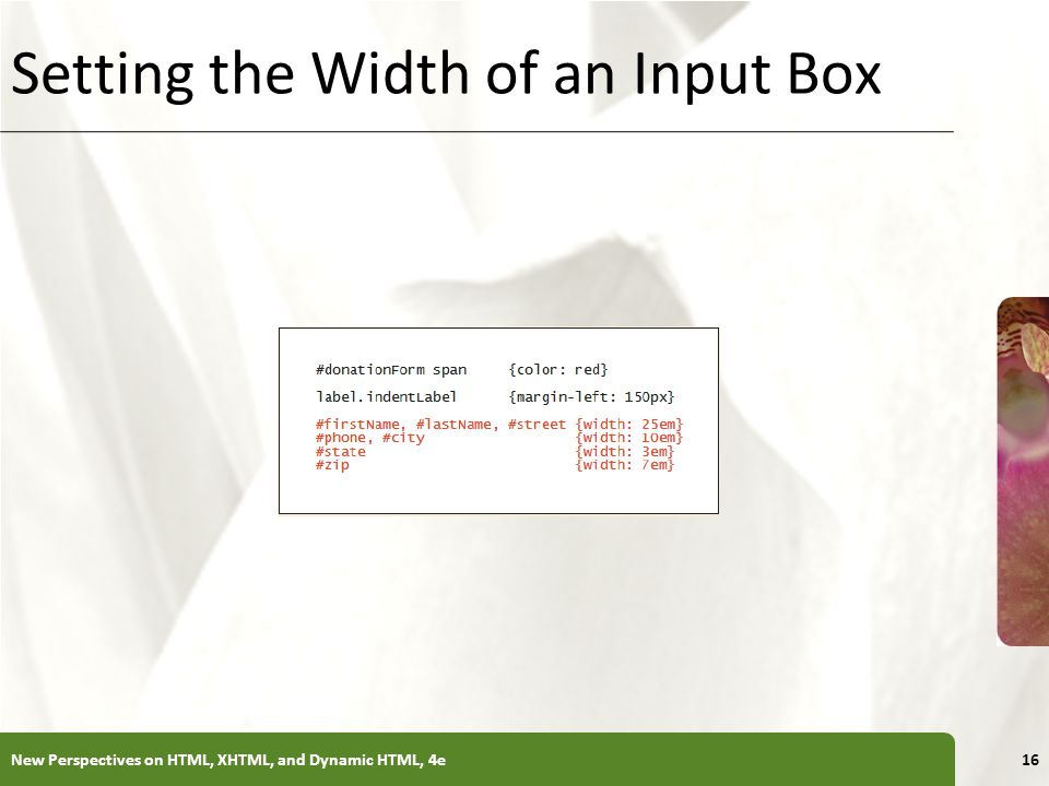 Setting the Width of an Input Box