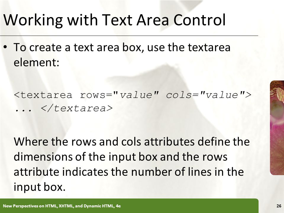 Working with Text Area Control