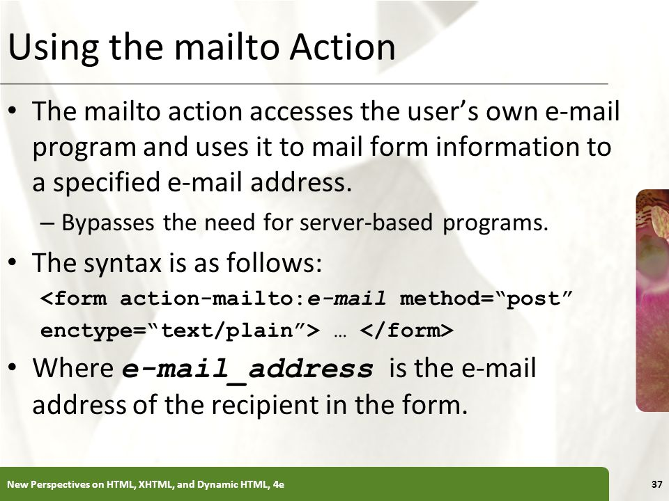 Using the mailto Action