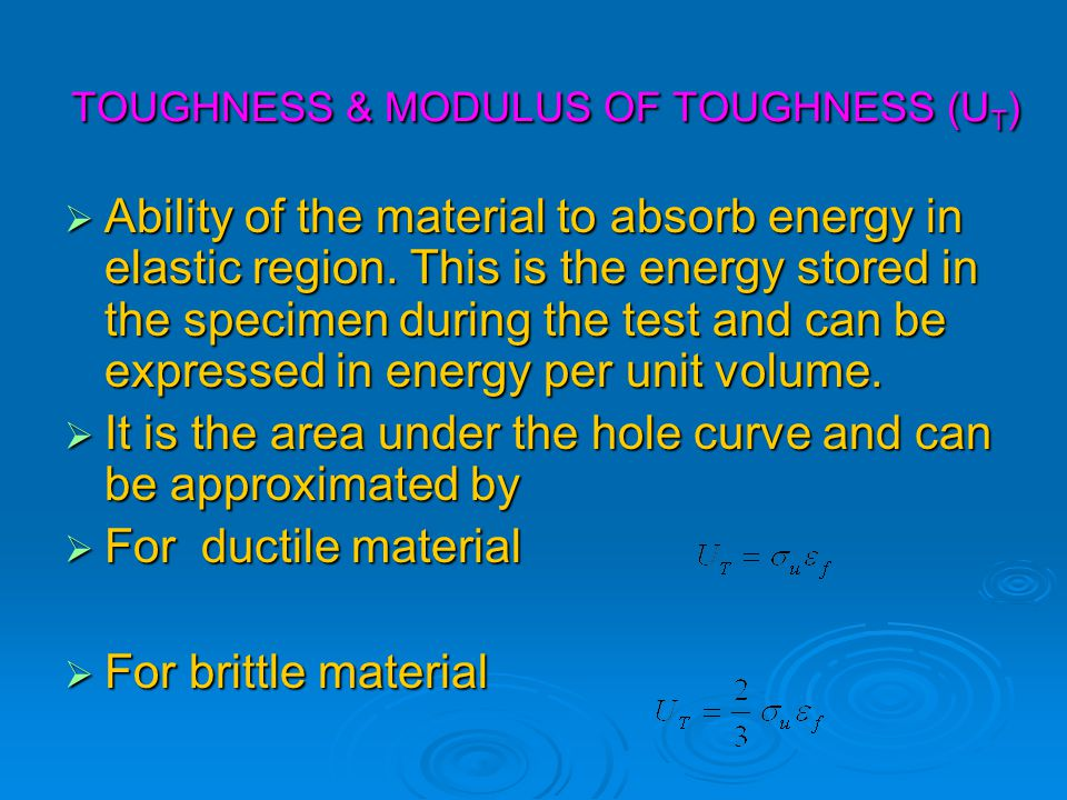 TOUGHNESS & MODULUS OF TOUGHNESS (UT)