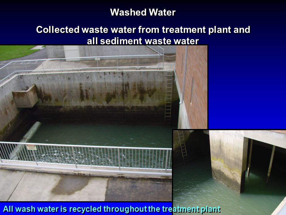 Washed Water Collected waste water from treatment plant and all sediment waste water.