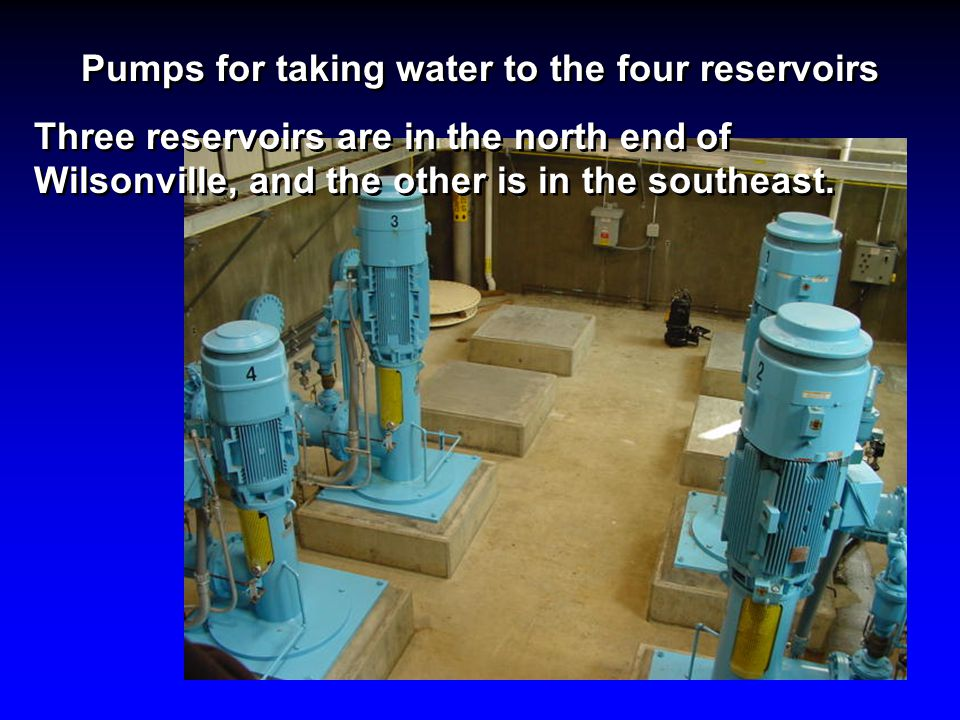 Pumps for taking water to the four reservoirs