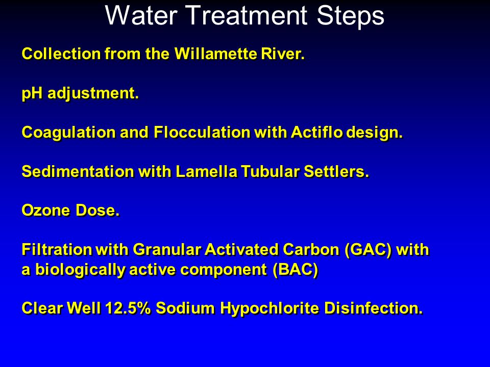 Water Treatment Steps Collection from the Willamette River.