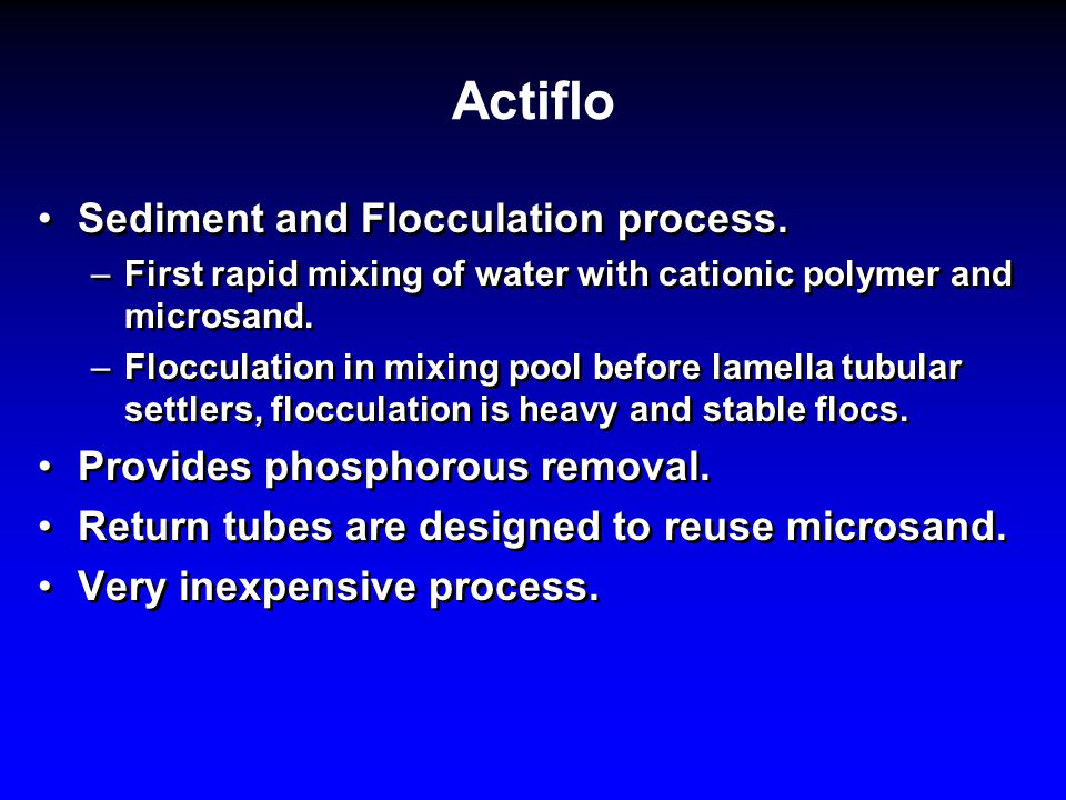 Actiflo Sediment and Flocculation process.