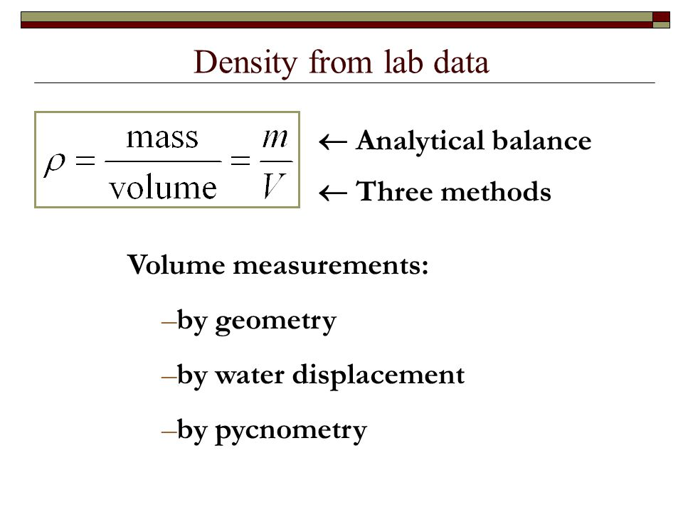 Density Determination Using Various Methods to Measure