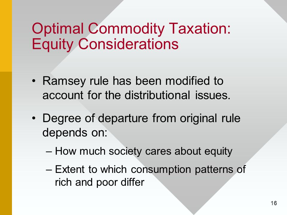 Optimal Commodity Taxation: Equity Considerations