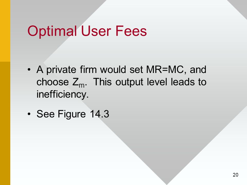 Optimal User Fees A private firm would set MR=MC, and choose Zm. This output level leads to inefficiency.