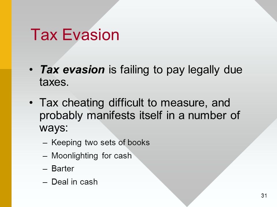 Tax Evasion Tax evasion is failing to pay legally due taxes.