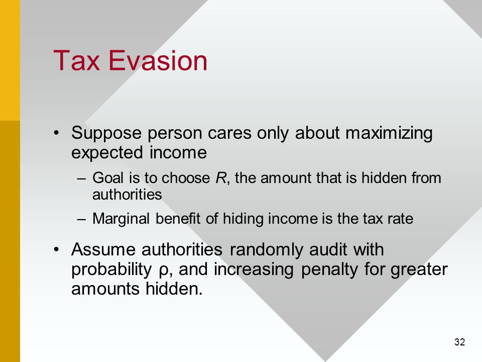 Tax Evasion Suppose person cares only about maximizing expected income