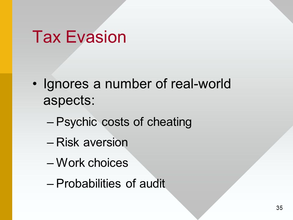Tax Evasion Ignores a number of real-world aspects: