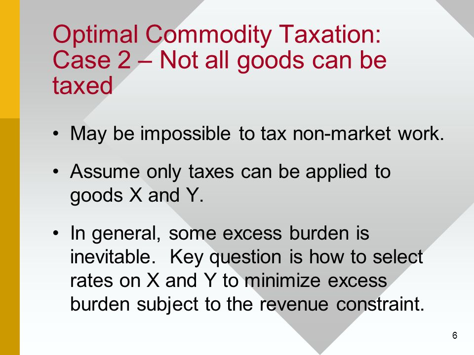 Optimal Commodity Taxation: Case 2 – Not all goods can be taxed