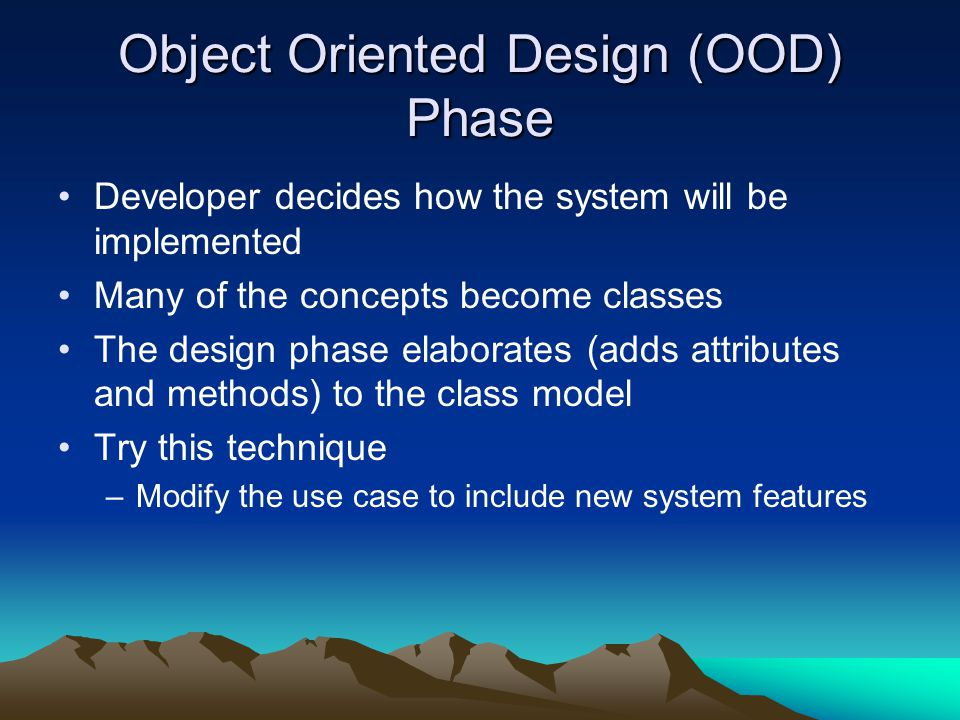 Object Oriented Design (OOD) Phase