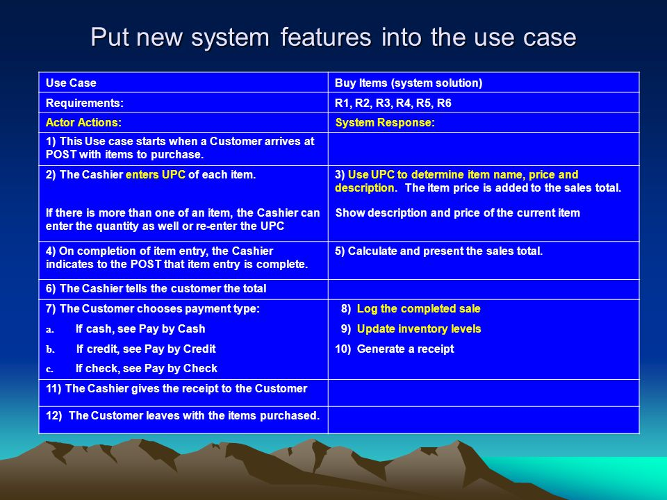 Put new system features into the use case