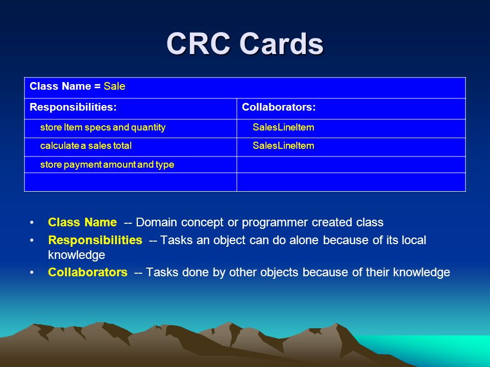 CRC Cards Class Name -- Domain concept or programmer created class