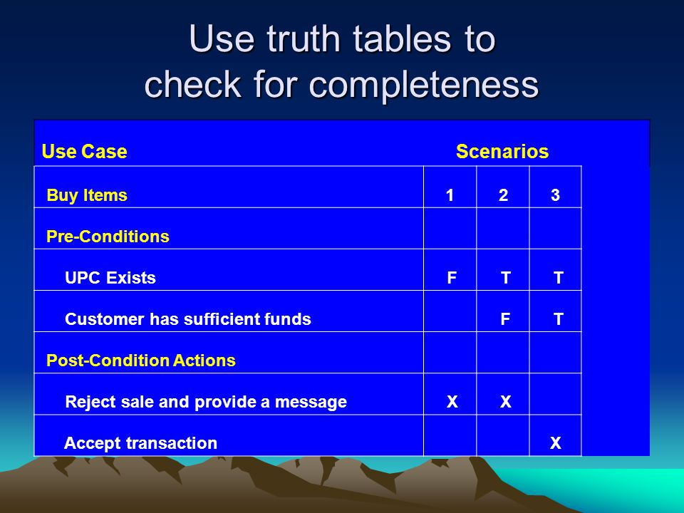 Use truth tables to check for completeness