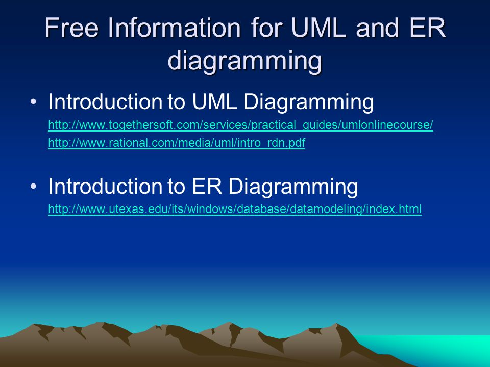 Free Information for UML and ER diagramming