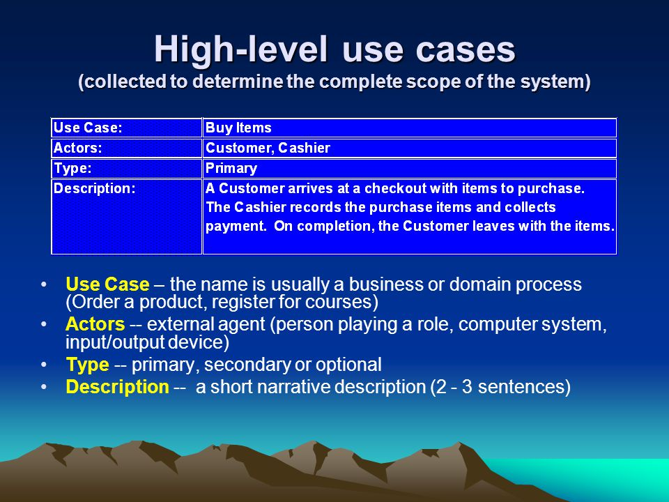 High-level use cases (collected to determine the complete scope of the system)