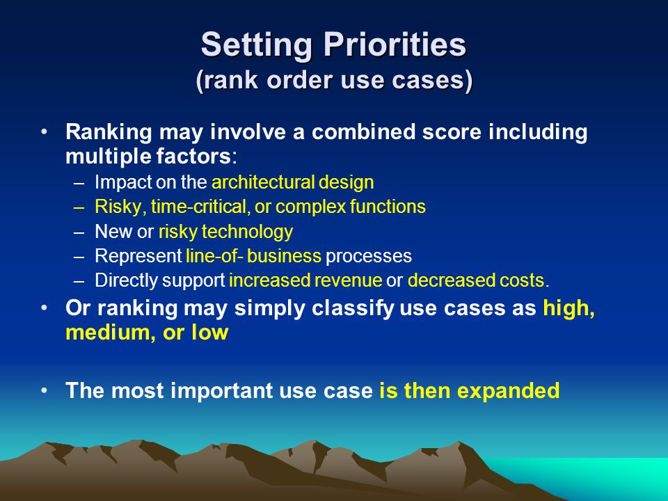 Setting Priorities (rank order use cases)