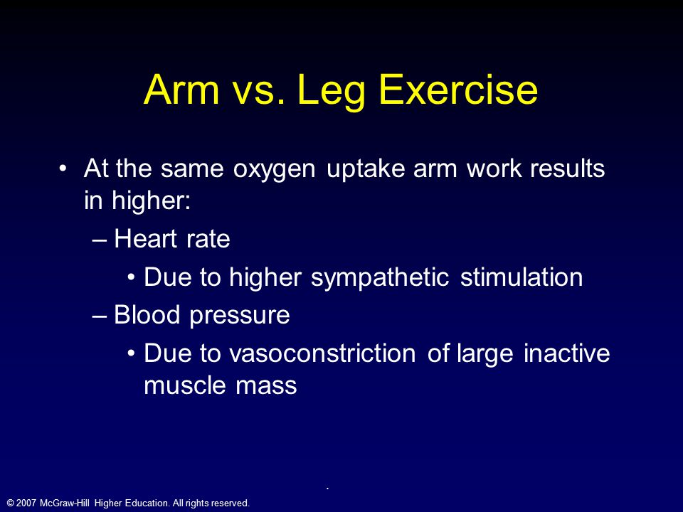 Arm vs. Leg Exercise At the same oxygen uptake arm work results in higher: Heart rate. Due to higher sympathetic stimulation.