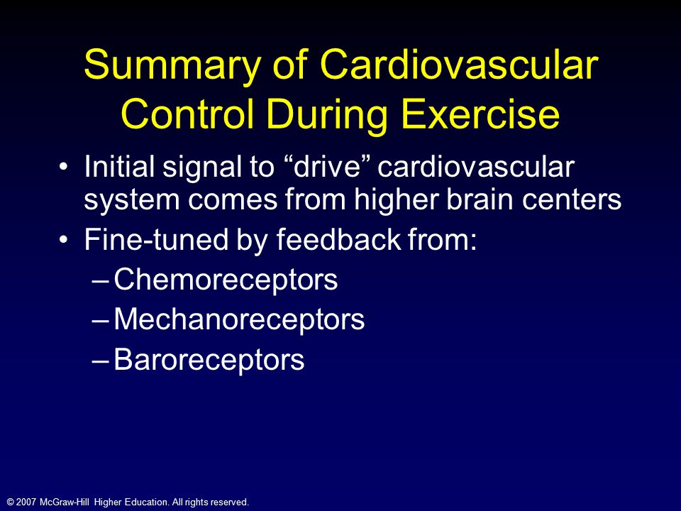 Summary of Cardiovascular Control During Exercise