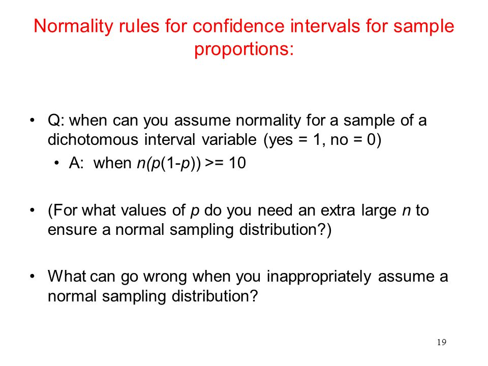 Normality rules for confidence intervals for sample proportions: