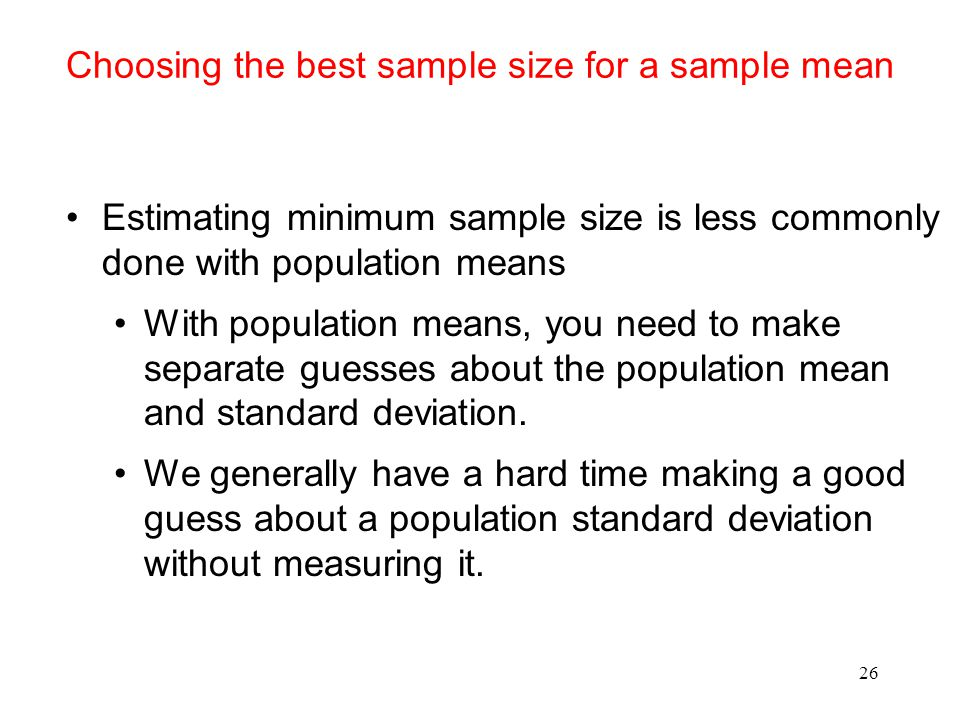 Choosing the best sample size for a sample mean