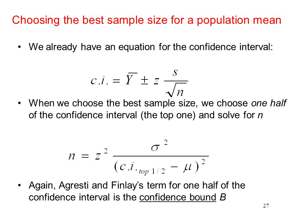Choosing the best sample size for a population mean