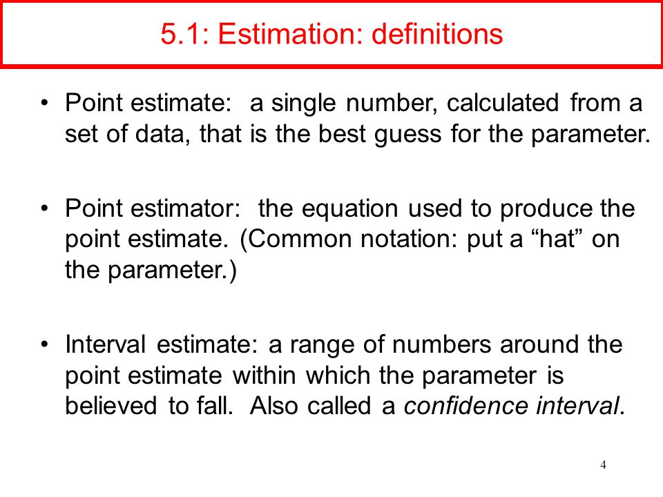 5.1: Estimation: definitions