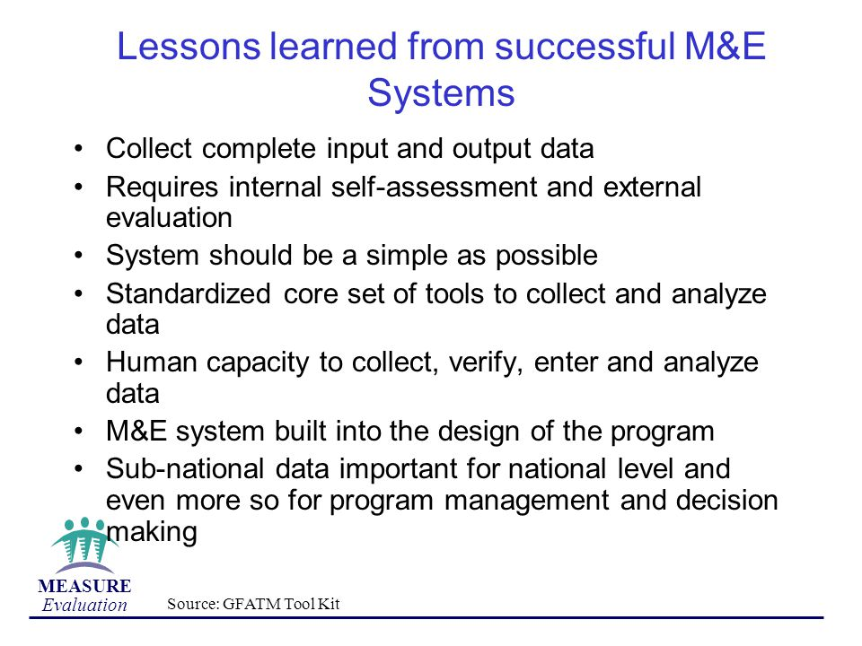 Lessons learned from successful M&E Systems