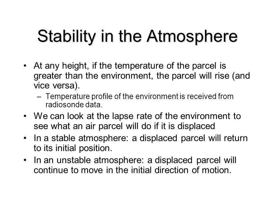 Stability in the Atmosphere